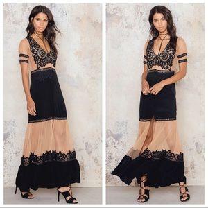 For Love & Lemons Carmine Maxi Dress Black Lace